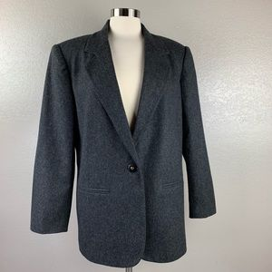 Sag Harbor Gray 100% Wool Lined 1 Button Jacket